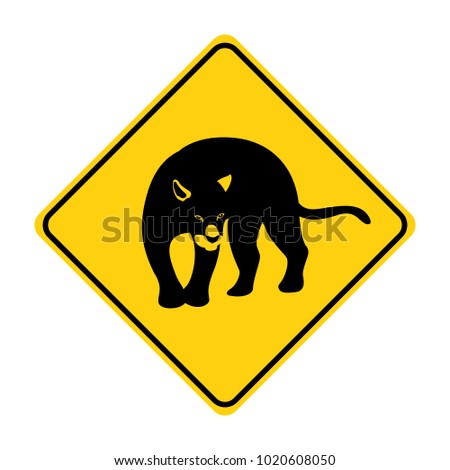 panther silhouette animal traffic sign yellow  vector illustration