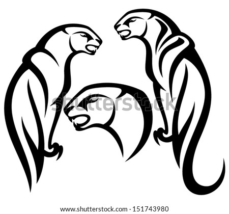 panther tribal vector design - black and white outline - stock vector
