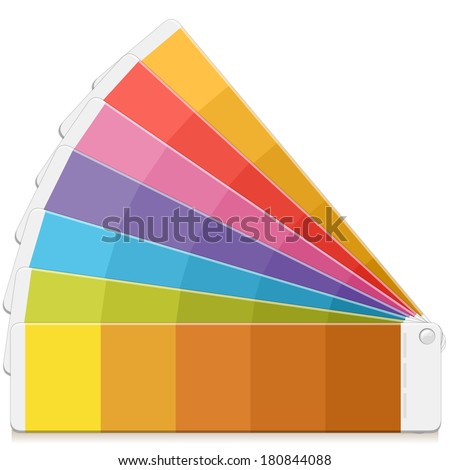 Pantone Palette Book Swatch Paint. Rainbow Pantone Paint Table. - stock vector