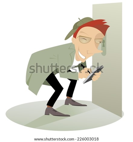 Paparazzi or detective spying through the keyhole - stock vector