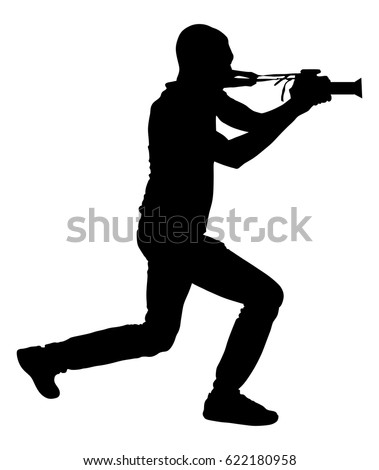 paparazzi photographer shooting on the event vector silhouette illustration isolated on white background