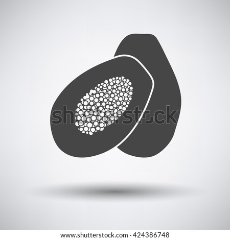 Papaya icon on gray background with shadow. Vector illustration.  - stock vector