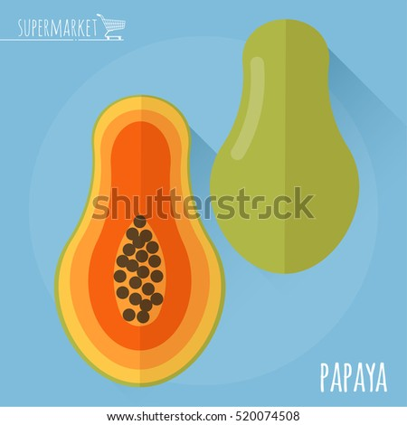 Papaya.  Long shadow flat design vector icon.