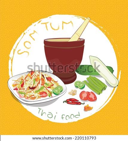 papaya salad and ingredients on Orange background