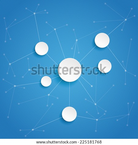 Pape circles with networks on the blue background. Eps 10 vector file. - stock vector