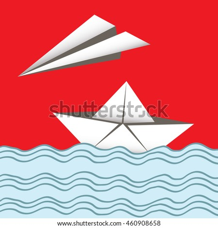 paper airplane and boat card