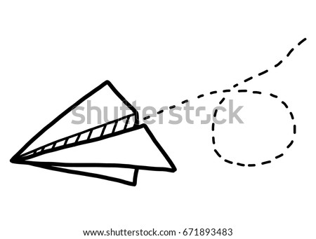 Paper airplane cartoon vector and illustration black and white hand drawn sketch