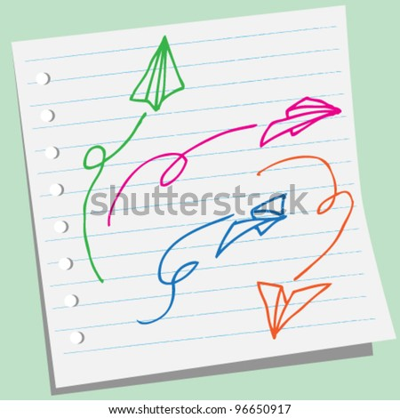 paper airplane doodle illustration - stock vector
