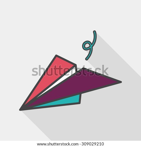 paper airplane flat icon with long shadow - stock vector
