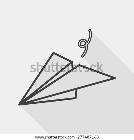 paper airplane flat icon with long shadow, line icon - stock vector