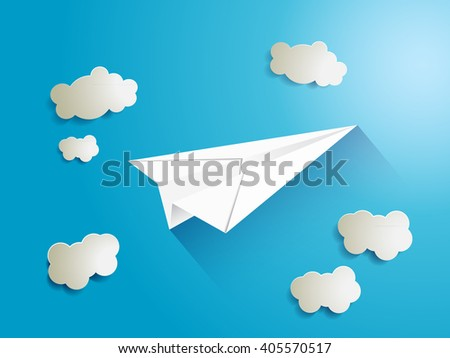 Paper airplane flying through the clouds carrying the important message