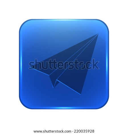 Paper airplane icon - glossy blue button - stock vector