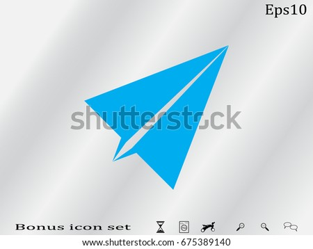 paper airplane, icon, vector illustration eps10