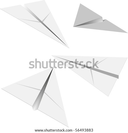 paper airplane in different angles