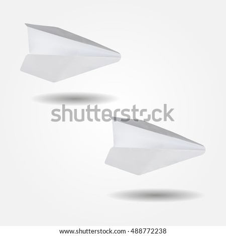 Paper airplane, low and high resolution triangle mesh realistic vector eps10