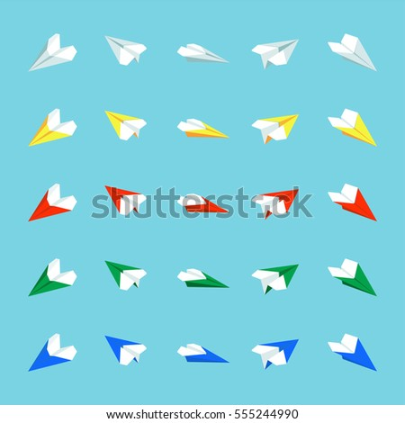 Paper airplane Minimalistic Flat Line Color Icon Pictogram Illustration Set Collection
