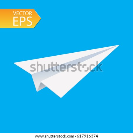Paper airplane on blue background. Concept of growth or leadership. business metaphor. Vector illustration.