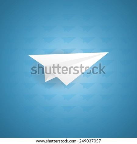 Paper airplane on the blue background. Vector illustration.