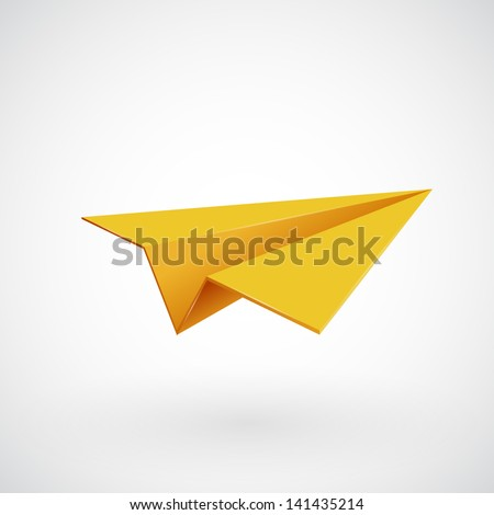 Paper airplane, Plane 3d icon, Vector illustration - stock vector