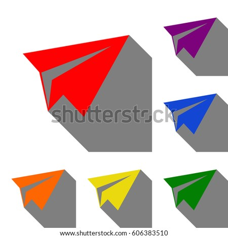 Paper airplane sign. Set of red, orange, yellow, green, blue and violet icons at white background with flat shadow.