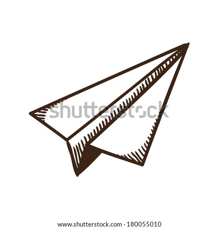 Paper airplane symbol. Isolated sketch icon pictogram. Eps 10 vector illustration. - stock vector