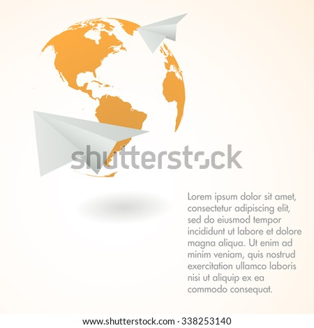 Paper airplane. Vector background. Delivery concept