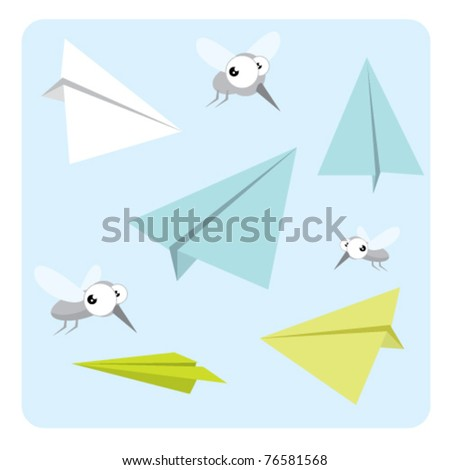 paper airplanes and mosquitoes - stock vector