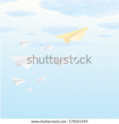 paper airplanes flying in blue sky. business metaphor of free market. vector illustration