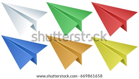 Paper airplanes in six colors illustration