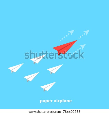 Flying paper airplanes paper plane background stock vector paper airplanes on a blue background business competition isometric image malvernweather Gallery