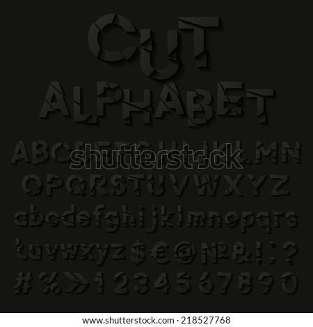 Paper alphabet with cut letters. Vector illustration  - stock vector