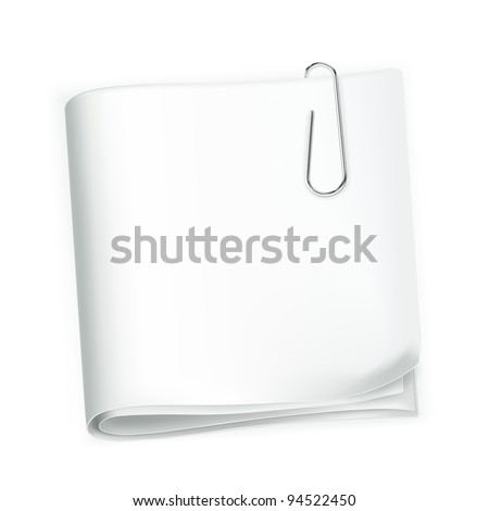 Paper and clip, vector - stock vector