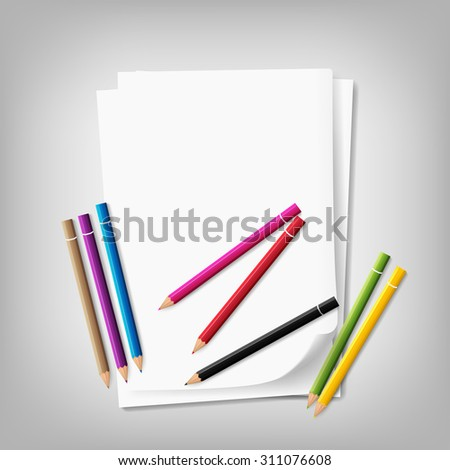 paper and crayons. vector illustration - stock vector