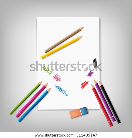 paper and crayons. vector illustration