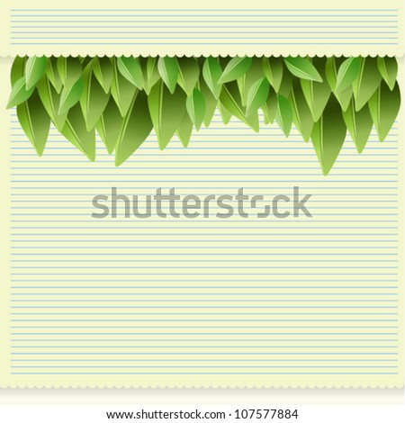 Paper and leaves background, EPS10 Vector Illustration. - stock vector