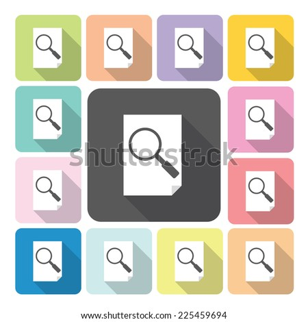 Paper and mvagnifier Icon color set vector illustration. - stock vector