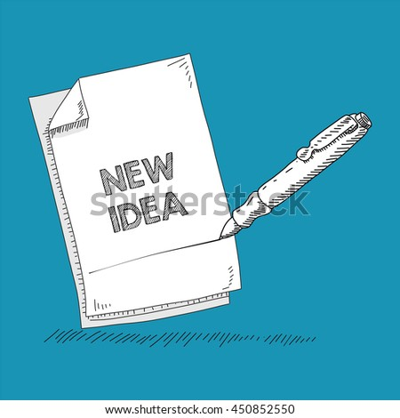paper and pen - stock vector