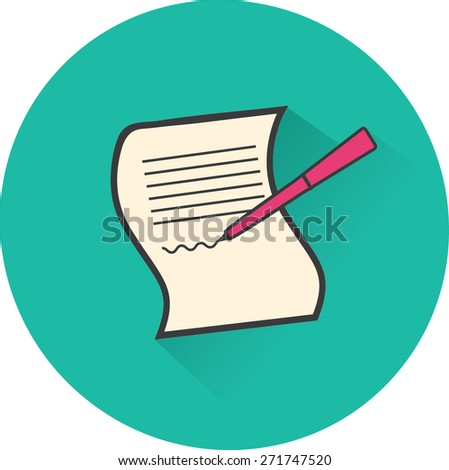 Paper and pen. Flat vector icon - stock vector