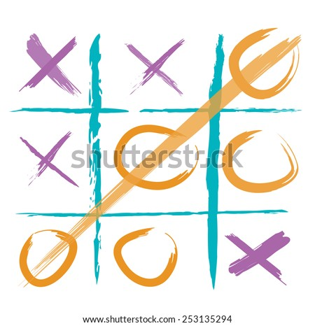 Paper and Pencil Game Tic-Tac-Toe in colorful concept illustration - stock vector
