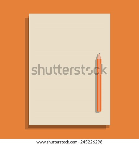 Paper and Pencil in flat design - stock vector
