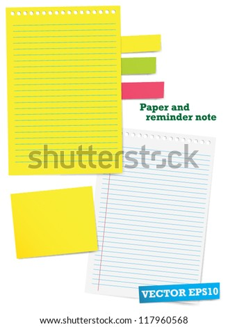 Paper and reminder note. Vector - stock vector