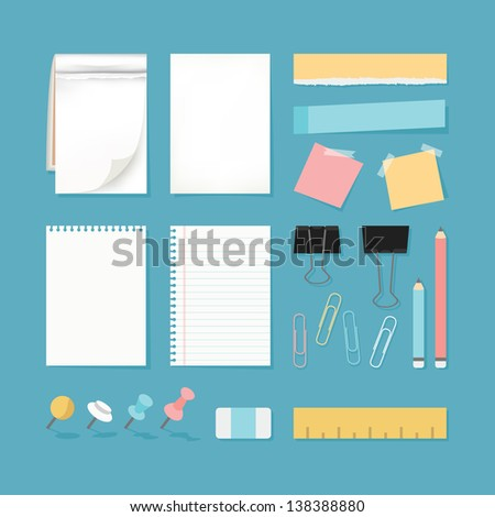 Paper and stationery, vector - stock vector