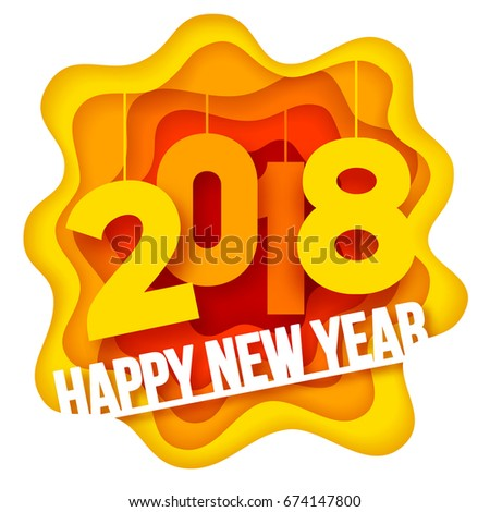 Paper art carving style design with digits 2018 for your Christmas Flyers and Greetings Card. Vector illustration.