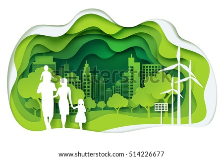 Paper art of family and park on green town shape, origami concept and ecology idea, vector art and illustration.