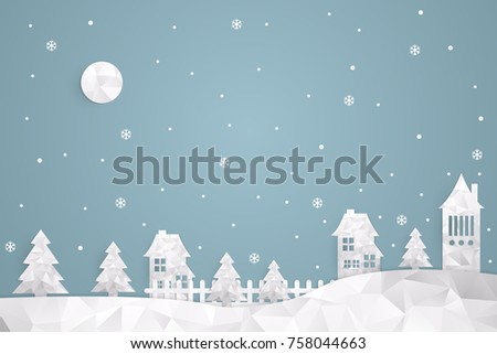 Paper art of Merry Christmas. Polygon winter Snow Urban Countryside Landscape City Village, for design, vector illustration eps 10.