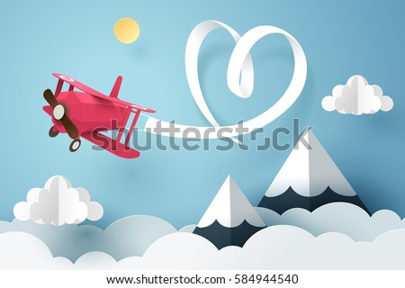Paper art of ribbon hang with a pink plane flying in the sky, origami and valentines day concept, vector art and illustration.