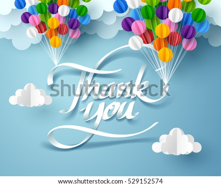 Paper art of thank you calligraphy hand lettering hanging with colorful balloon, vector art and origami.