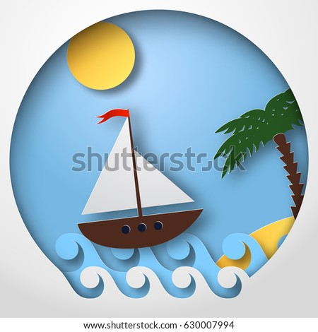 Paper art sailing boat float on the tropical sea. Vector illustration