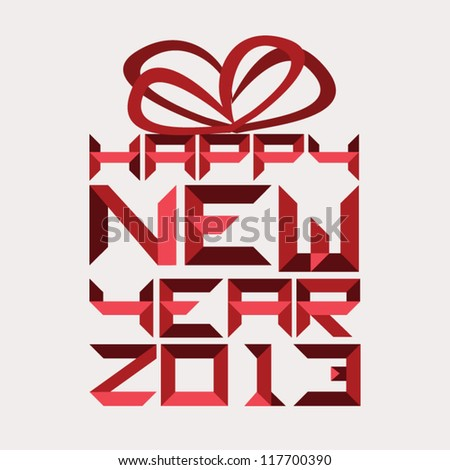 "Paper art typography ""Happy new year 2013"" forms abstract gift box for greeting in red. - stock vector"