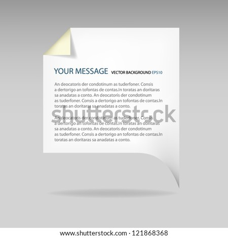 Paper background vector for message billboard empty for data banner for design - stock vector